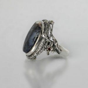 Сребърен пръстен дендрит ахат перидот гранат топаз