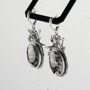 Сребърни обеци с дендрит ахат, гранат, цитрин, топаз