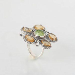 Сребърен пръстен цитрин