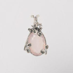 Медальон с розов кварц